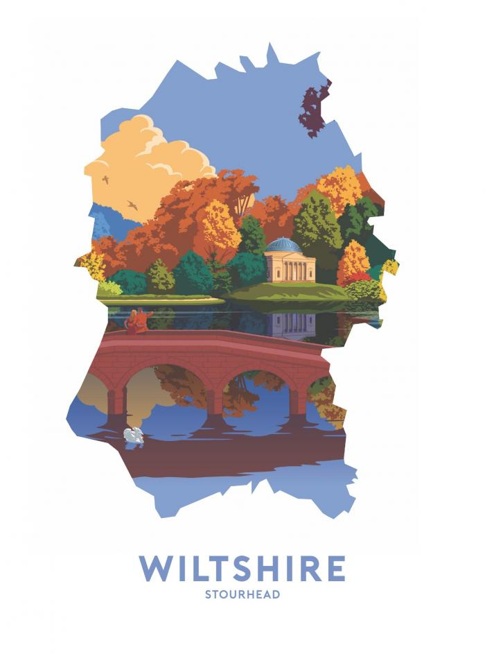 Place in Print Stephen Millership Wiltshire - Stourhead Travel Poster Art Print