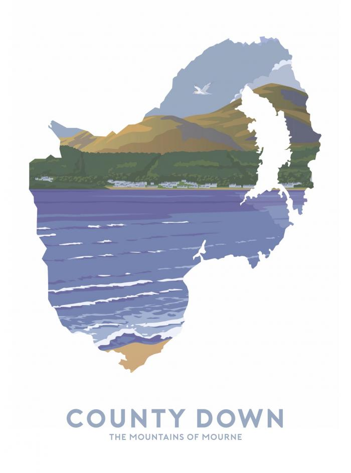 Place in Print Stephen Millership County Down - The Mountains of Mourne Travel Poster Art Print