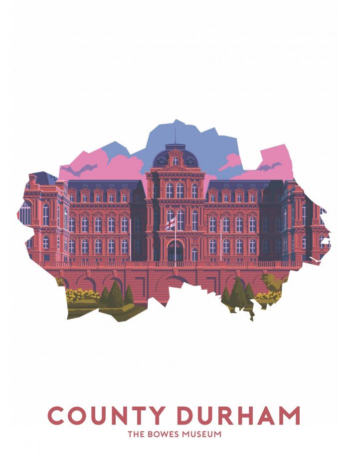 Place in Print Stephen Millership County Durham - The Bowes Museum Travel Poster Art Print