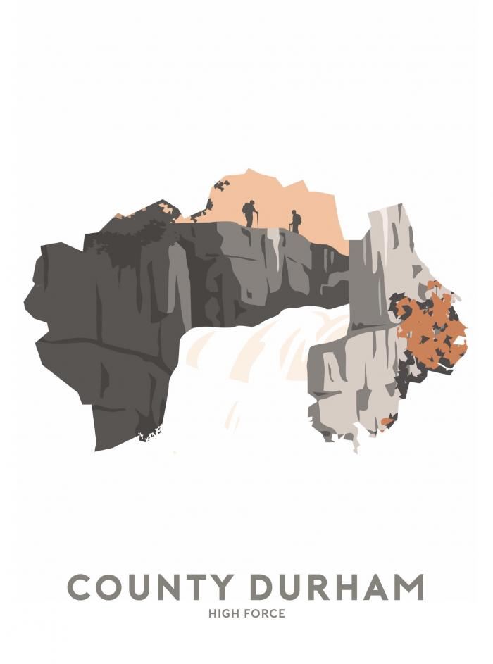 Place in Print Stephen Millership County Durham - High Force Travel Poster Art Print