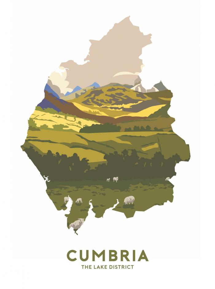 Place in Print Stephen Millership Cumbria - The Lake District Travel Poster Art Print