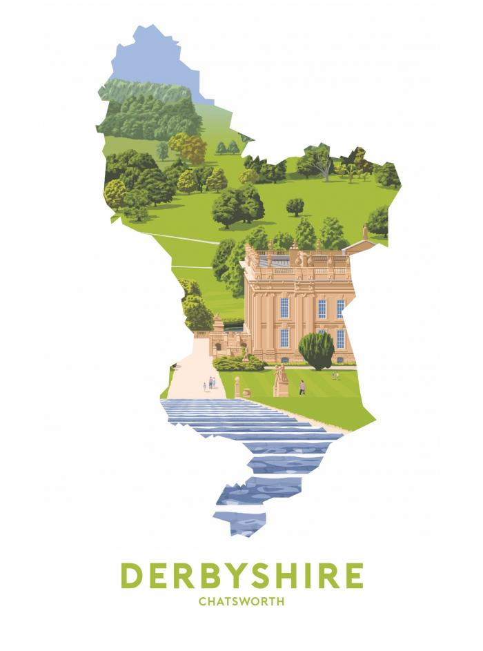 Place in Print Stephen Millership Derbyshire - Chatsworth Travel Poster Art Print