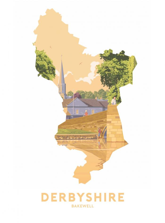 Place in Print Stephen Millership Derbyshire - Bakewell Travel Poster Art Print