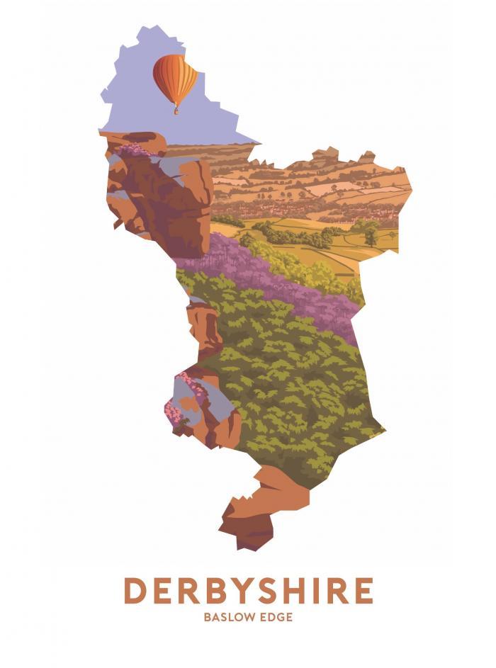 Place in Print Stephen Millership Derbyshire - Baslow Edge Travel Poster Art Print