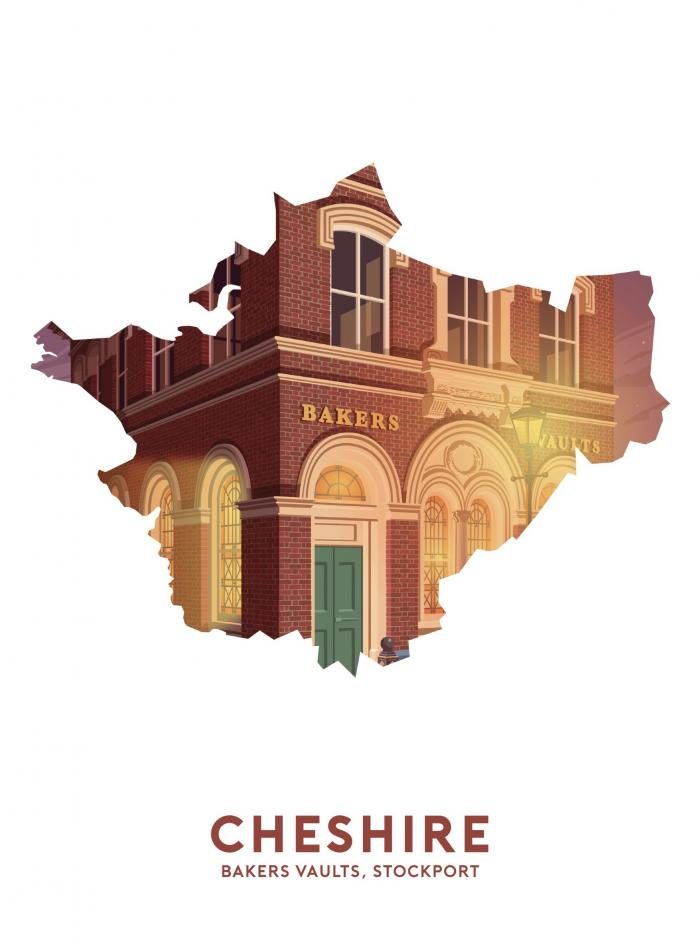 Place in Print Stephen Millership Cheshire - Bakers Vaults, Stockport Travel Poster Art Print