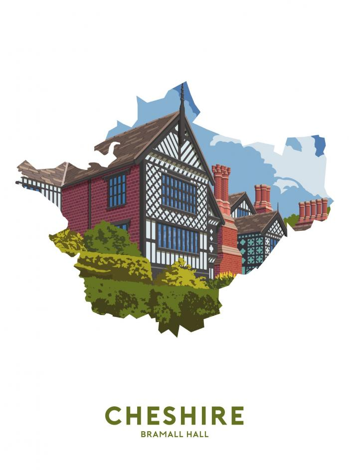 Place in Print Stephen Millership Cheshire - Bramall Hall Travel Poster Art Print