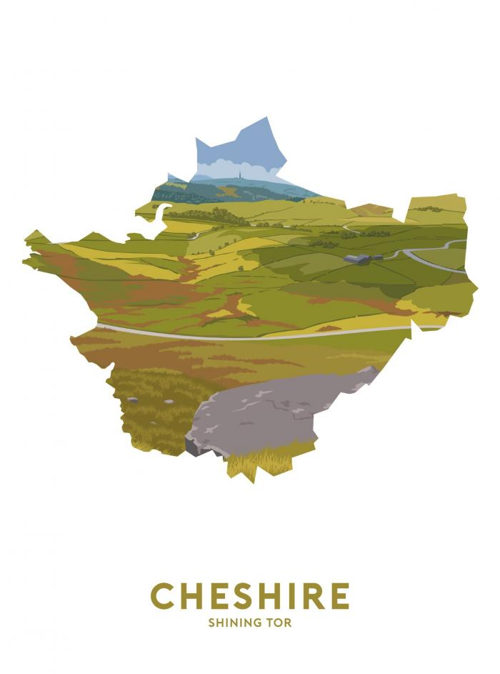 Place in Print Stephen Millership Cheshire - Shining Tor Travel Poster Art Print
