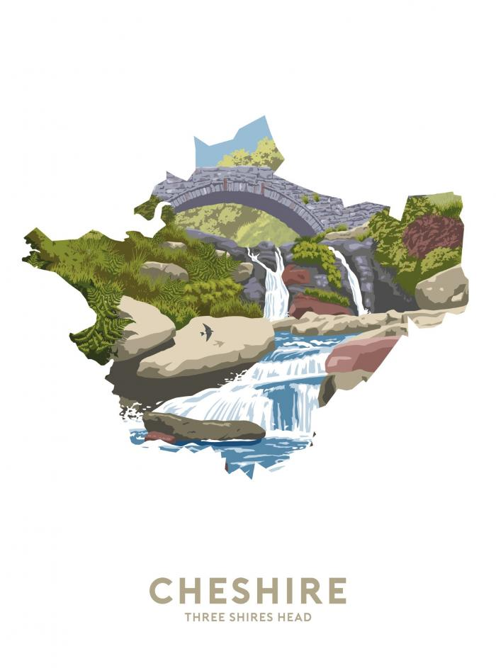 Place in Print Stephen Millership Cheshire - Three Shires Head Travel Poster Art Print