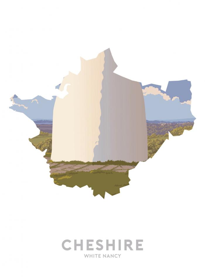 Place in Print Stephen Millership Cheshire - White Nancy Travel Poster Art Print