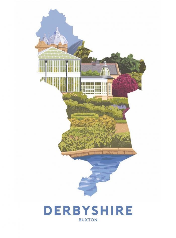 Place in Print Stephen Millership Derbyshire - Buxton Pavilion Gardens Travel Poster Art Print