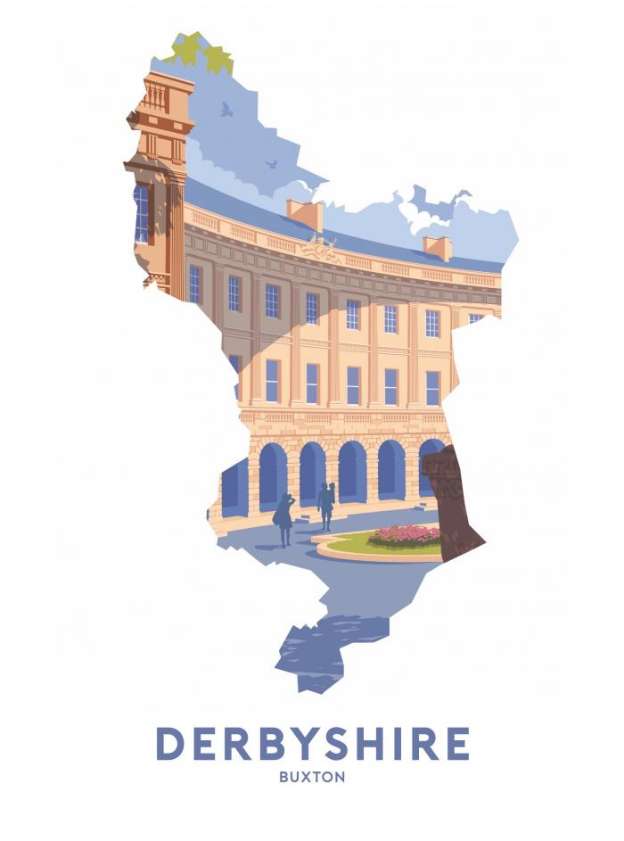 Place in Print Stephen Millership Derbyshire - Buxton Crescent Travel Poster Art Print