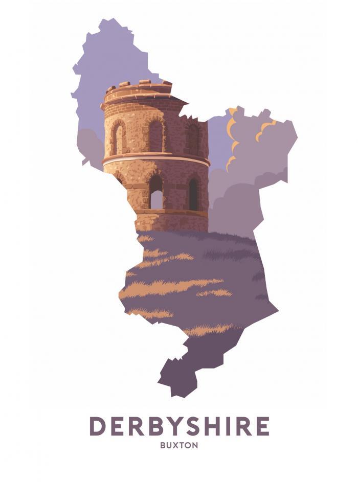 Place in Print Stephen Millership Derbyshire - Buxton Solomon's Temple Travel Poster Art Print