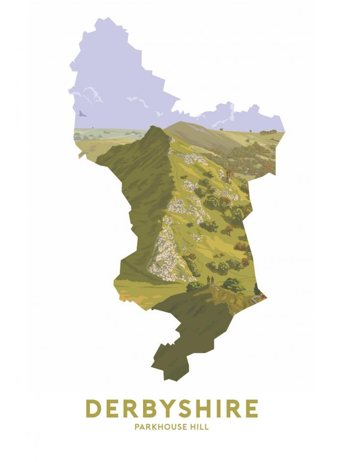 Place in Print Stephen Millership Derbyshire - Parkhouse Hill Travel Poster Art Print