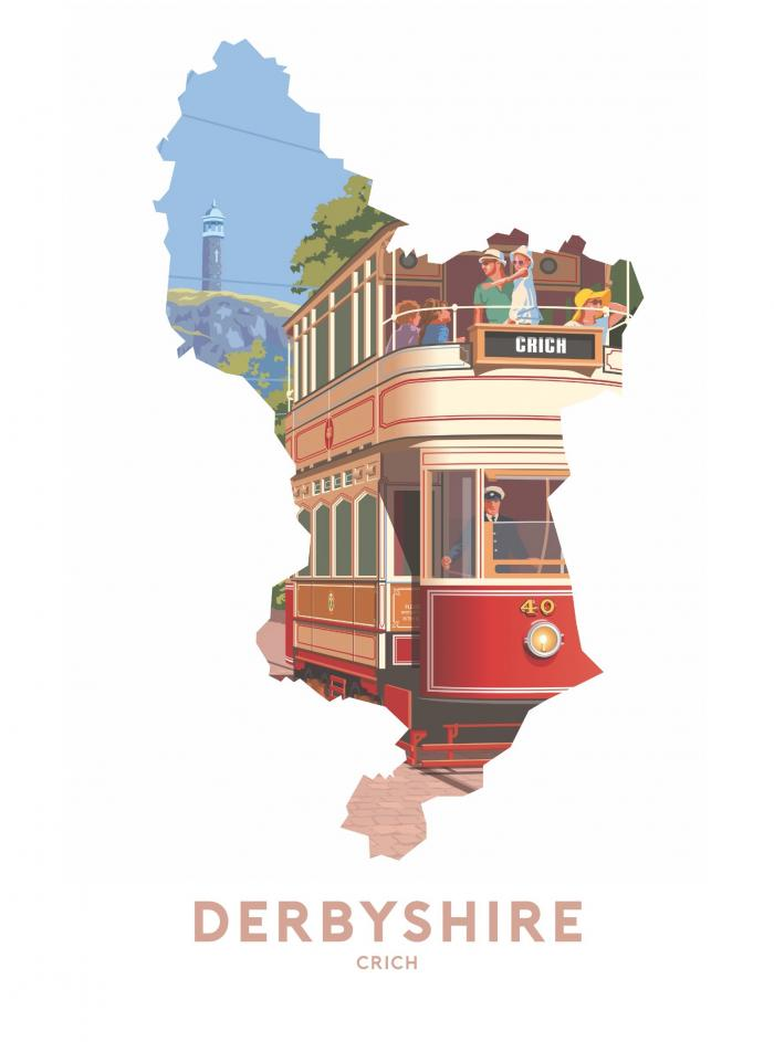 Place in Print Stephen Millership Derbyshire - Crich Travel Poster Art Print