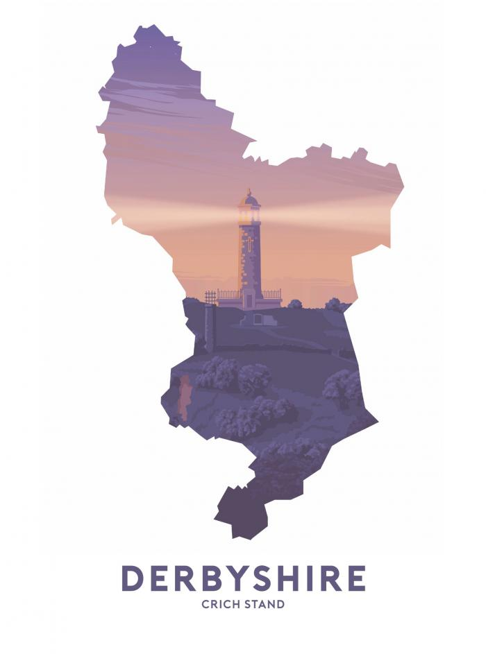 Place in Print Stephen Millership Derbyshire - Crich Stand Travel Poster Art Print
