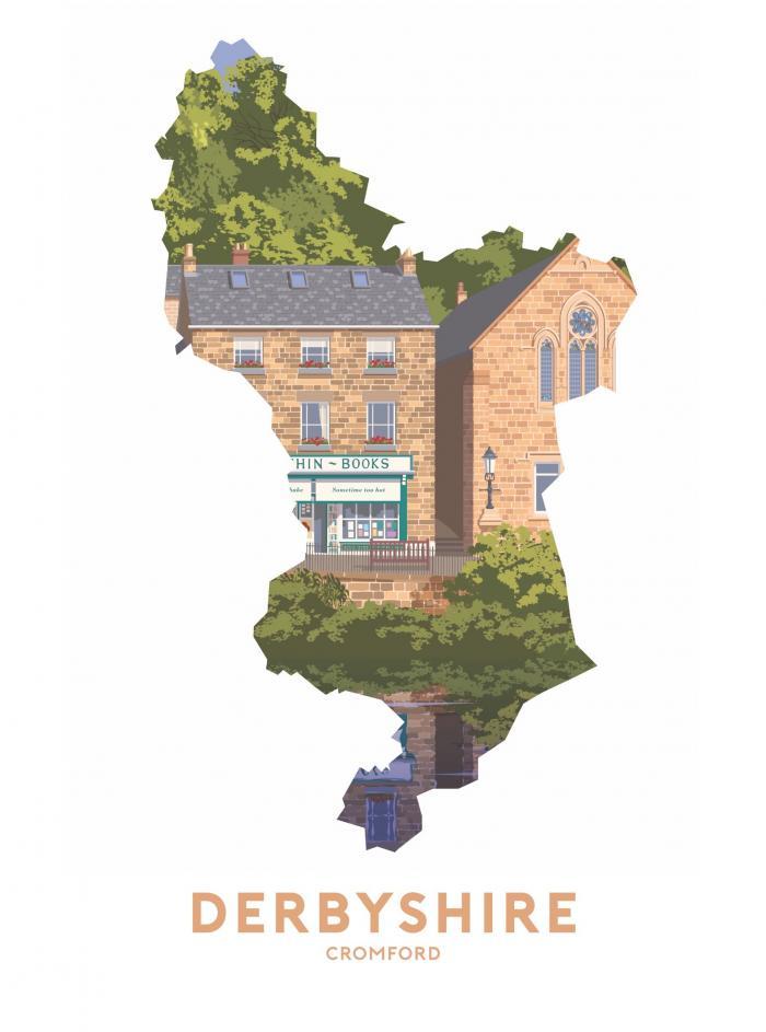 Place in Print Stephen Millership Derbyshire - Cromford Travel Poster Art Print