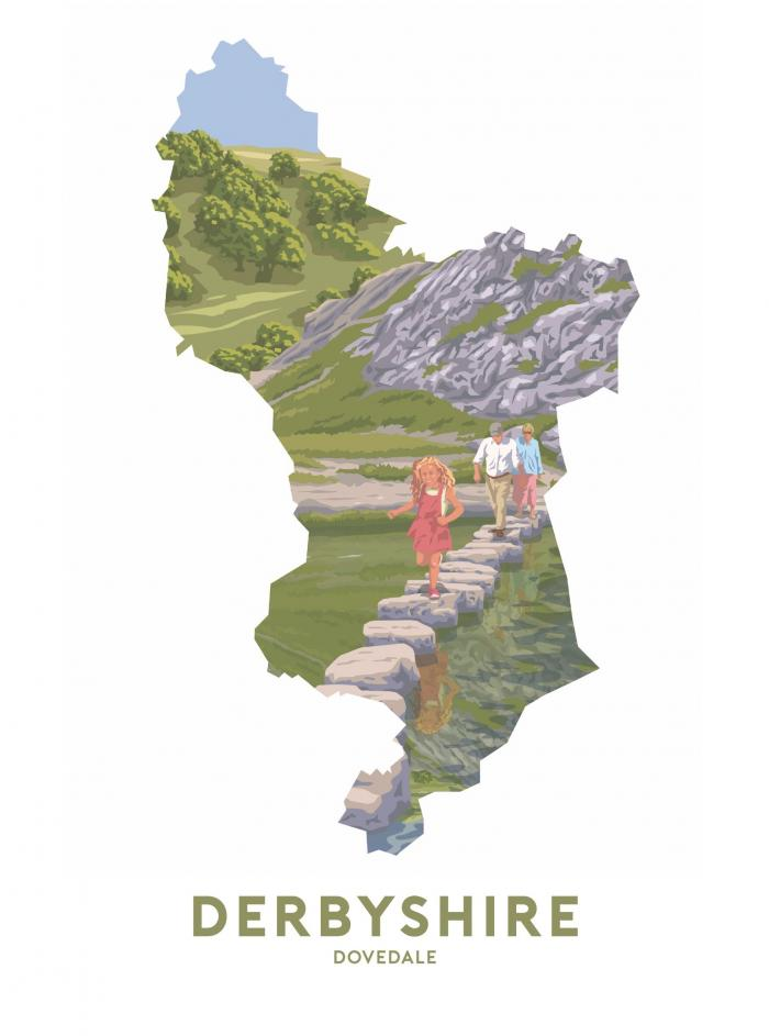 Place in Print Stephen Millership Derbyshire - Dovedale Travel Poster Art Print