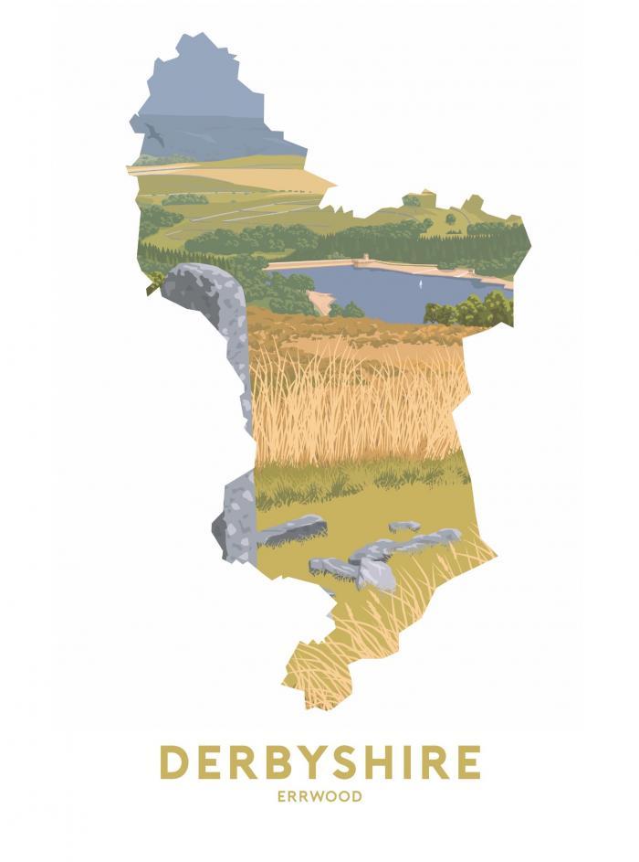 Place in Print Stephen Millership Derbyshire - Errwood Travel Poster Art Print