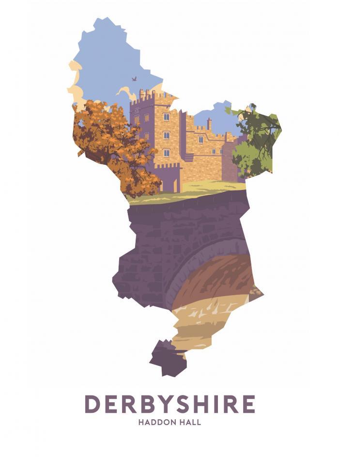 Place in Print Stephen Millership Derbyshire - Haddon Hall Travel Poster Art Print