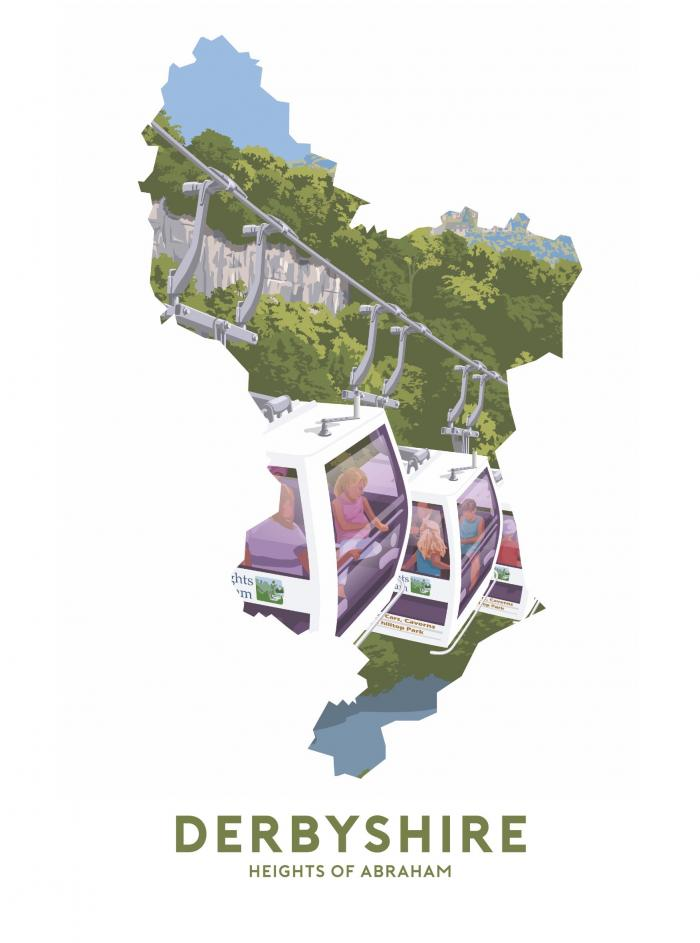 Place in Print Stephen Millership Derbyshire - Heights of Abraham Travel Poster Art Print