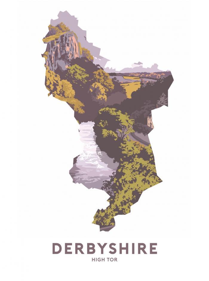 Place in Print Stephen Millership Derbyshire - High Tor Travel Poster Art Print