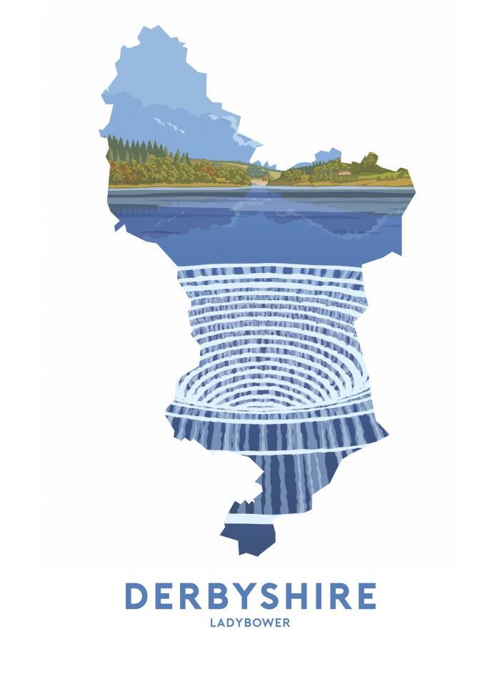 Place in Print Stephen Millership Derbyshire - Ladybower Travel Poster Art Print