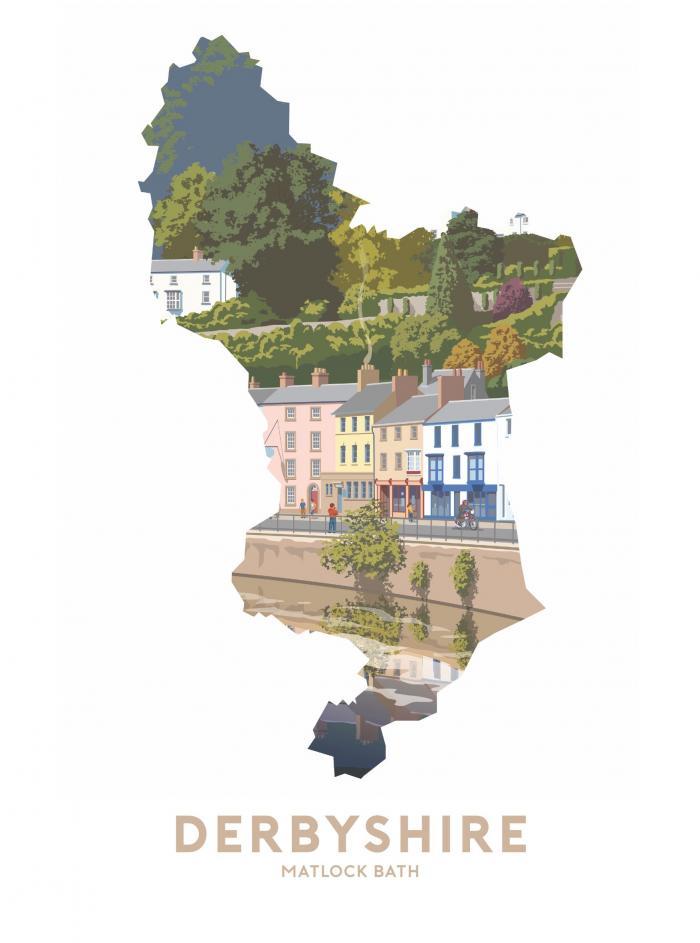Place in Print Stephen Millership Derbyshire - Matlock Bath Travel Poster Art Print