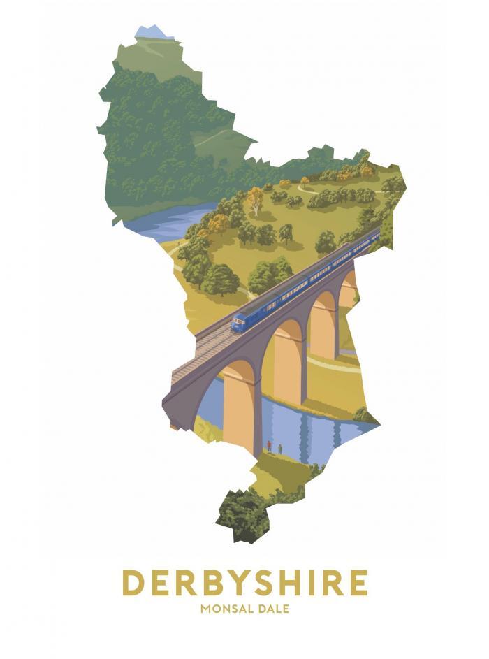 Place in Print Stephen Millership Derbyshire - Monsal Dale Travel Poster Art Print