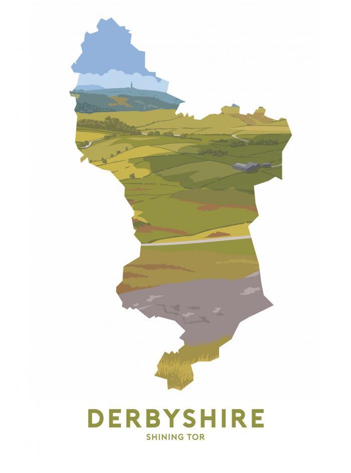 Place in Print Stephen Millership Derbyshire - Shining Tor Travel Poster Art Print
