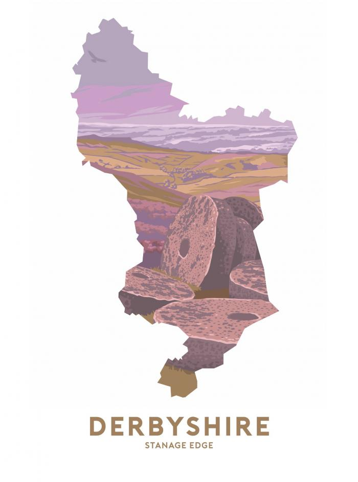 Place in Print Stephen Millership Derbyshire - Stanage Edge Travel Poster Art Print
