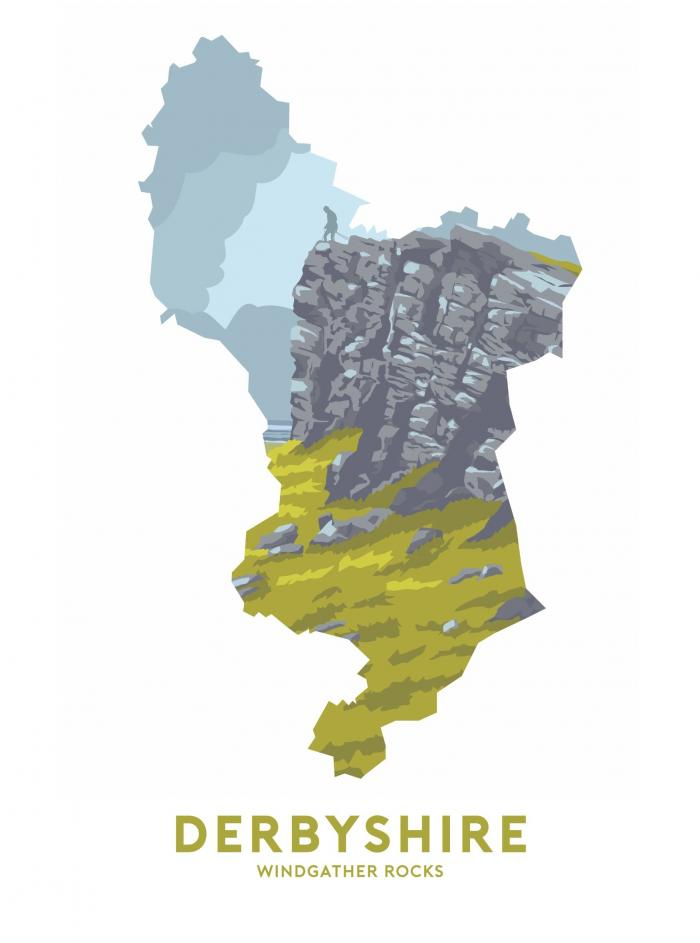 Place in Print Stephen Millership Derbyshire - Windgather Rocks Travel Poster Art Print