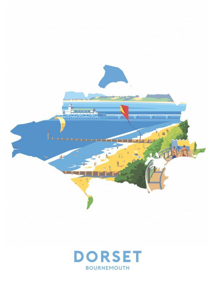 Place in Print Stephen Millership Dorset - Bournemouth Travel Poster Art Print
