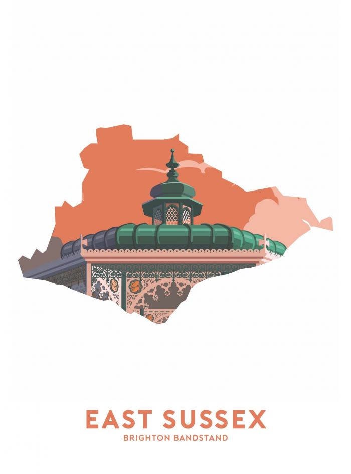 Place in Print Stephen Millership East Sussex - Brighton Bandstand Travel Poster Art Print