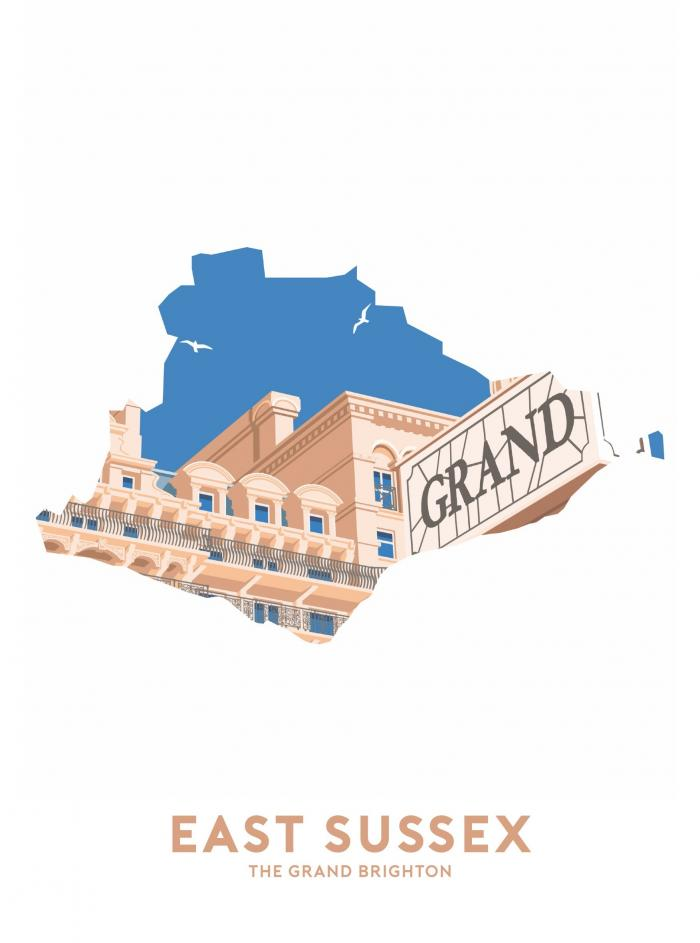 Place in Print Stephen Millership East Sussex - The Grand Brighton Travel Poster Art Print