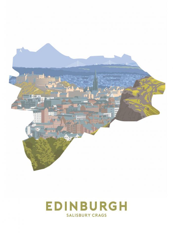 Place in Print Stephen Millership Edinburgh - Salisbury Crags Travel Poster Art Print