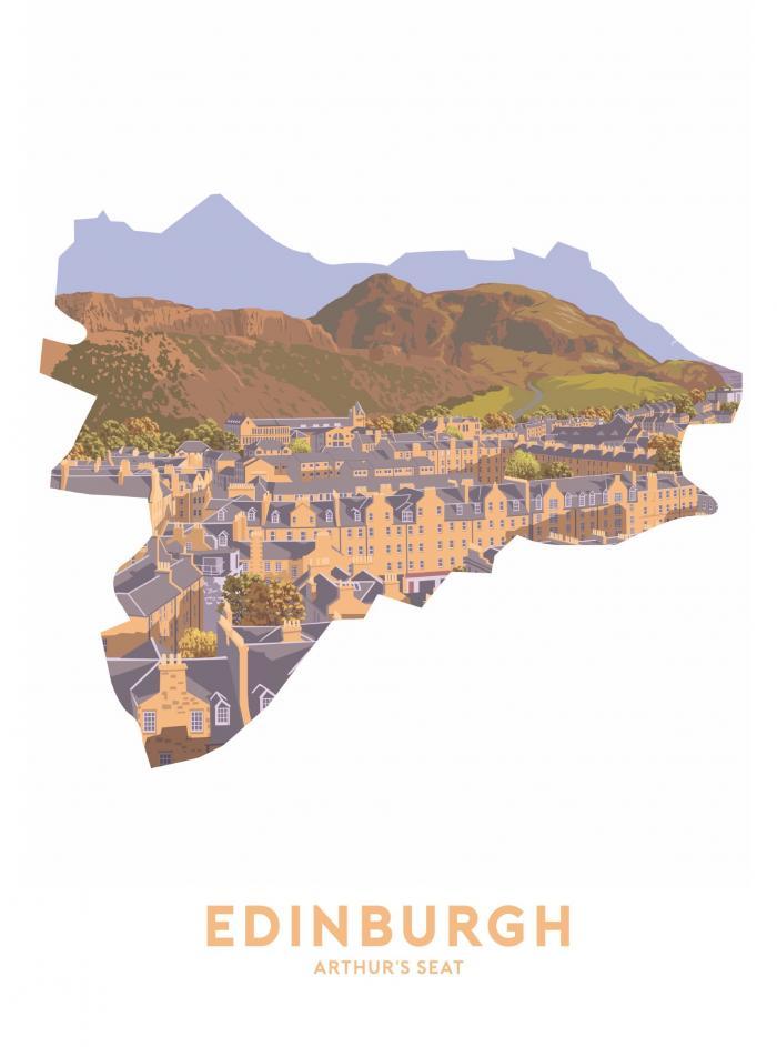 Place in Print Stephen Millership Edinburgh - Arthur's Seat Travel Poster Art Print
