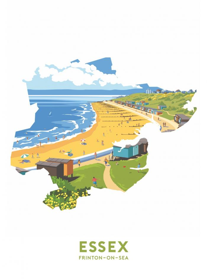 Place in Print Stephen Millership Essex - Frinton-on-Sea Travel Poster Art Print