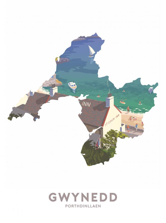 Place in Print Stephen Millership Gwynedd - Porthdinllaen Travel Poster Art Print