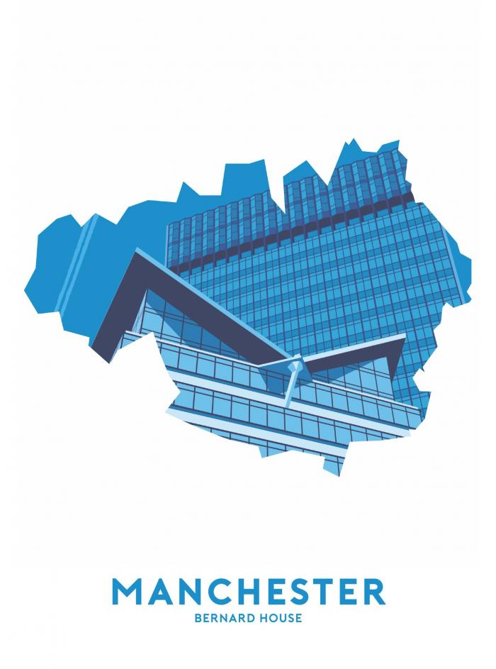 Place in Print Stephen Millership Manchester - Bernard House Travel Poster Art Print