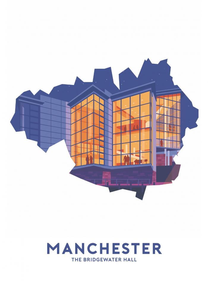 Place in Print Stephen Millership Manchester - The Bridgewater Hall Travel Poster Art Print