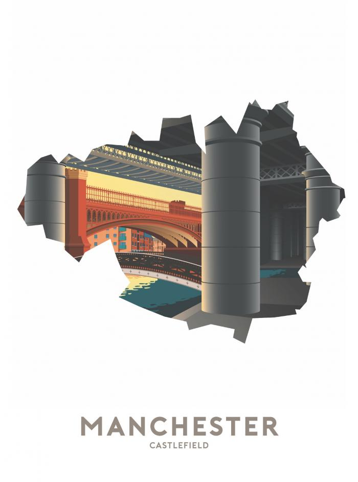 Place in Print Stephen Millership Manchester - Castlefield Travel Poster Art Print