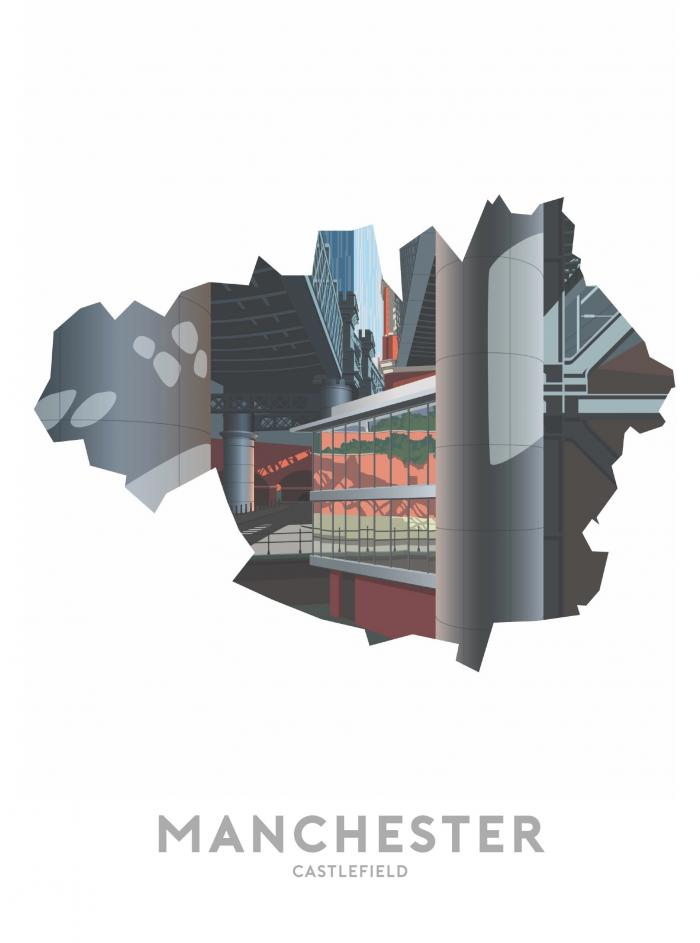 Place in Print Stephen Millership Manchester - Castlefield 2 Travel Poster Art Print