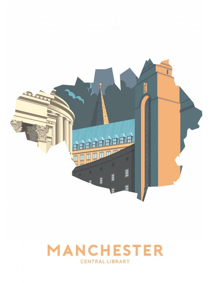Place in Print Stephen Millership Manchester - Central Library Travel Poster Art Print