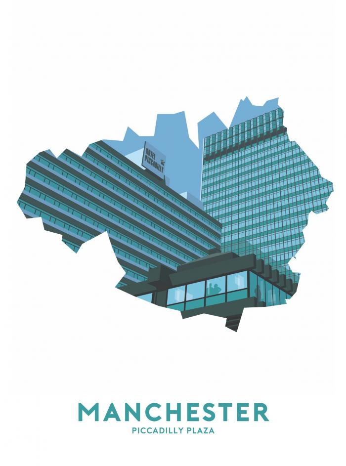 Place in Print Stephen Millership Manchester - Piccadilly Plaza Travel Poster Art Print