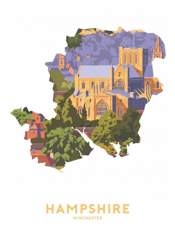 Place in Print Stephen Millership Hampshire - Winchester Travel Poster Art Print