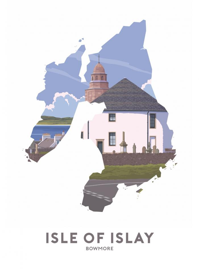 Place in Print Stephen Millership Isle of Islay - Bowmore Travel Poster Art Print