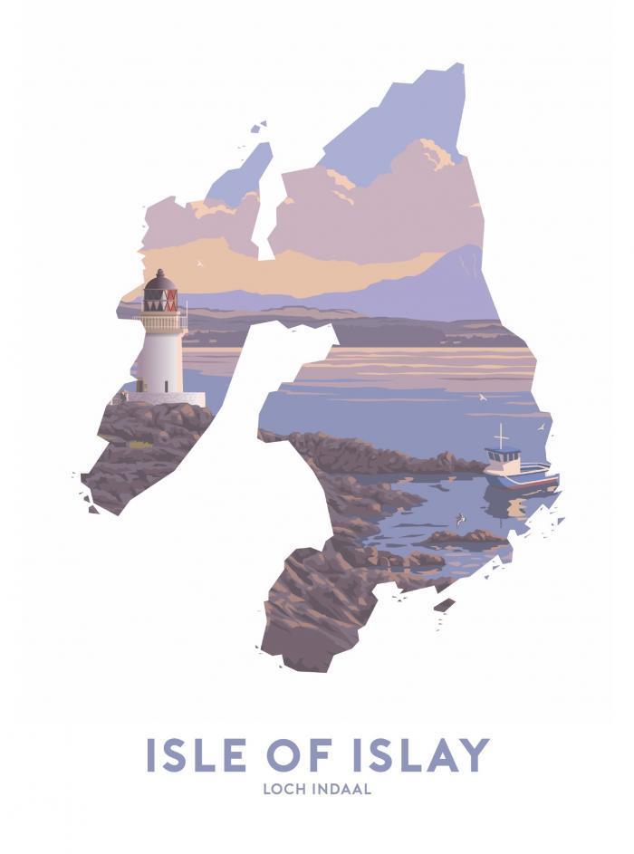 Place in Print Stephen Millership Isle of Islay - Loch Indaal Travel Poster Art Print