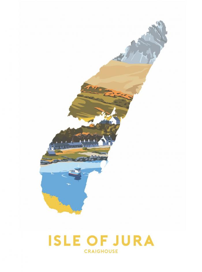 Place in Print Stephen Millership Isle of Jura - Craighouse Travel Poster Art Print