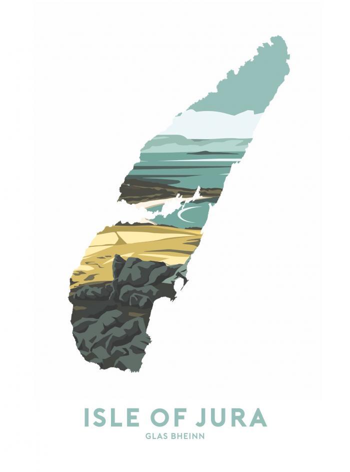 Place in Print Stephen Millership Isle of Jura - Glas Bheinn Travel Poster Art Print