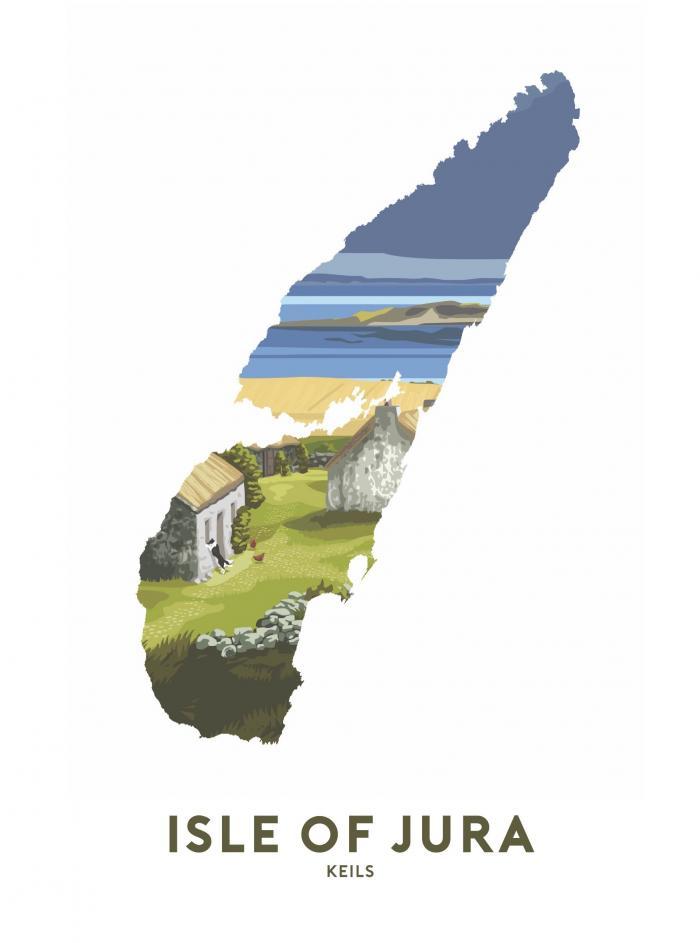 Place in Print Stephen Millership Isle of Jura - Keils Travel Poster Art Print